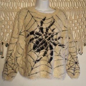 LF Katsumi ivory black spider wen fuzzy sweater